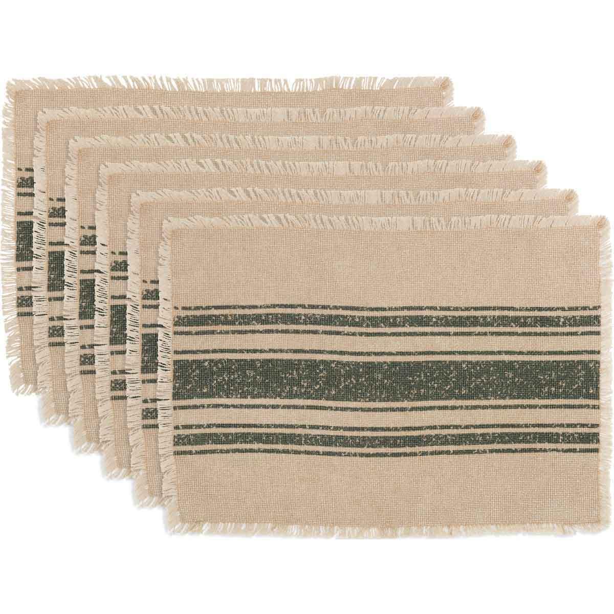 Vintage Burlap Stripe Green Placemat Set of 6 12x18