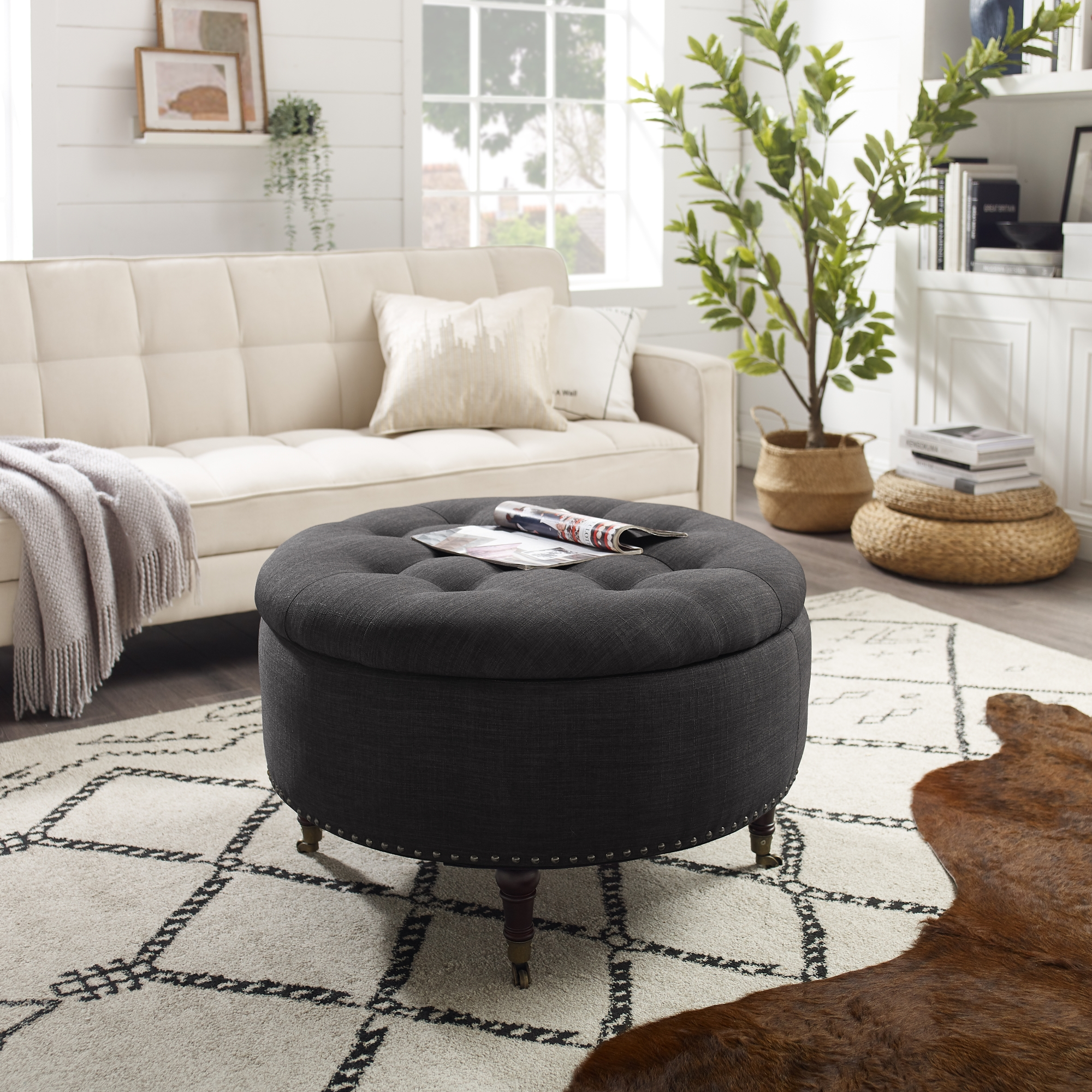 Rustic Manor Charcoal Linen Ottoman Hidden Storage Button Tufted
