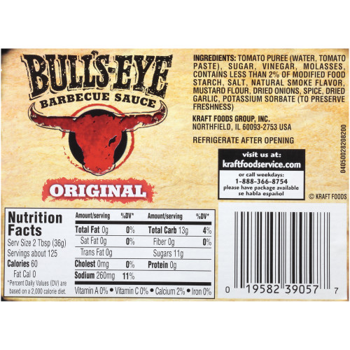 BULL'S-EYE Original BBQ Sauce, 1 gal. Jugs (Pack of 4)