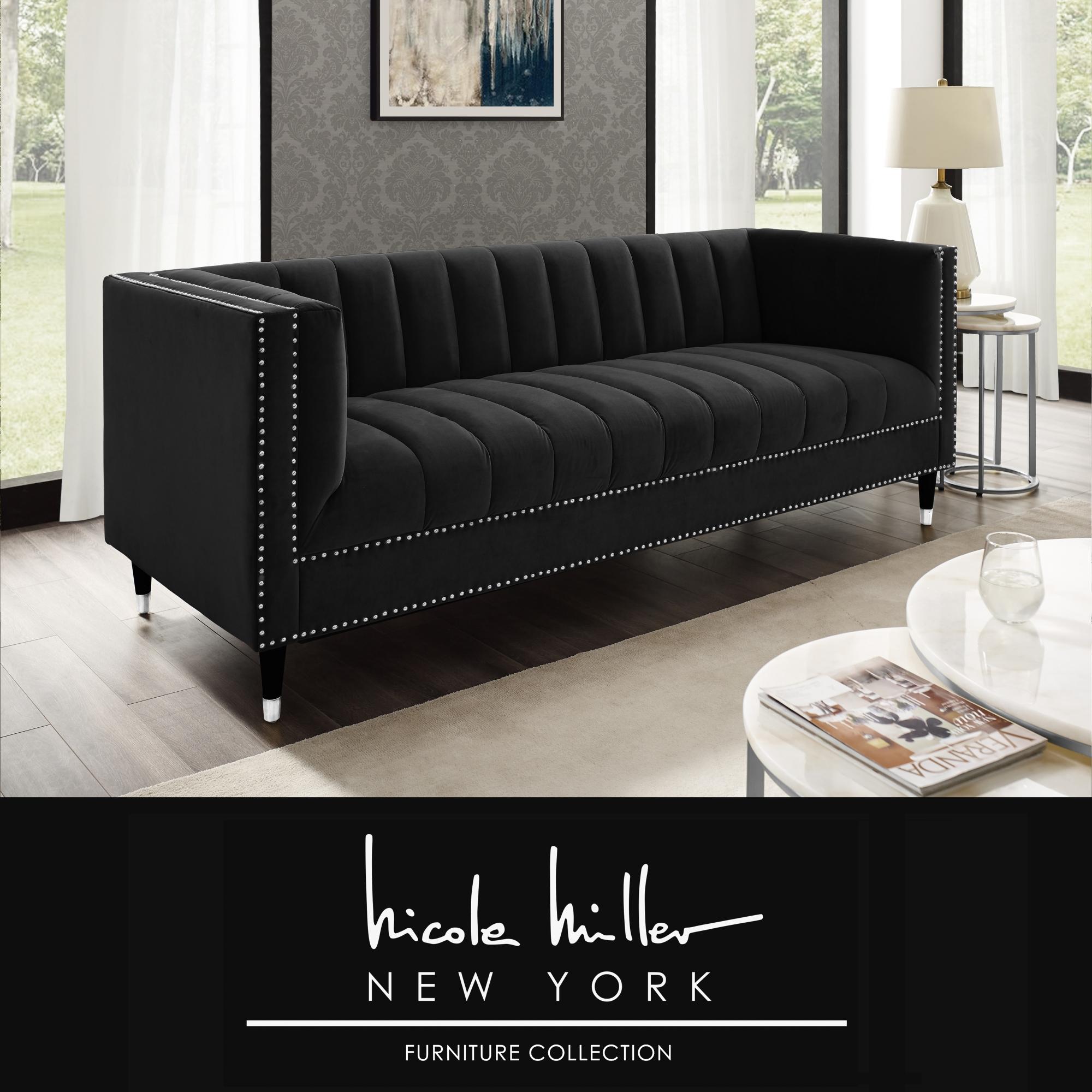 Nicole Miller Black/Chrome Velvet Sofa Line Stitch Tufted Chrome Nailhead Trim and Tapered Chrome Leg Tip