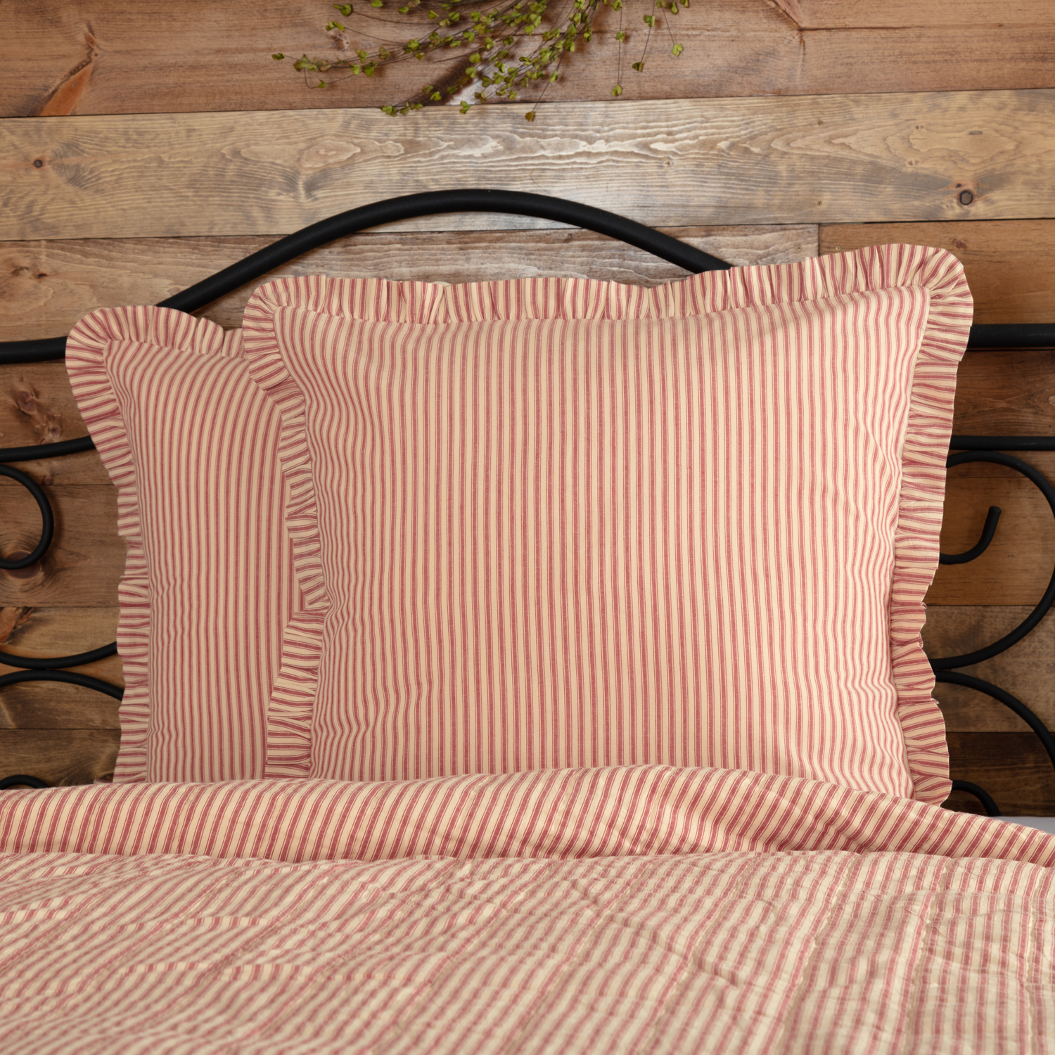 Sawyer Mill Red Ticking Stripe Fabric Euro Sham 26x26
