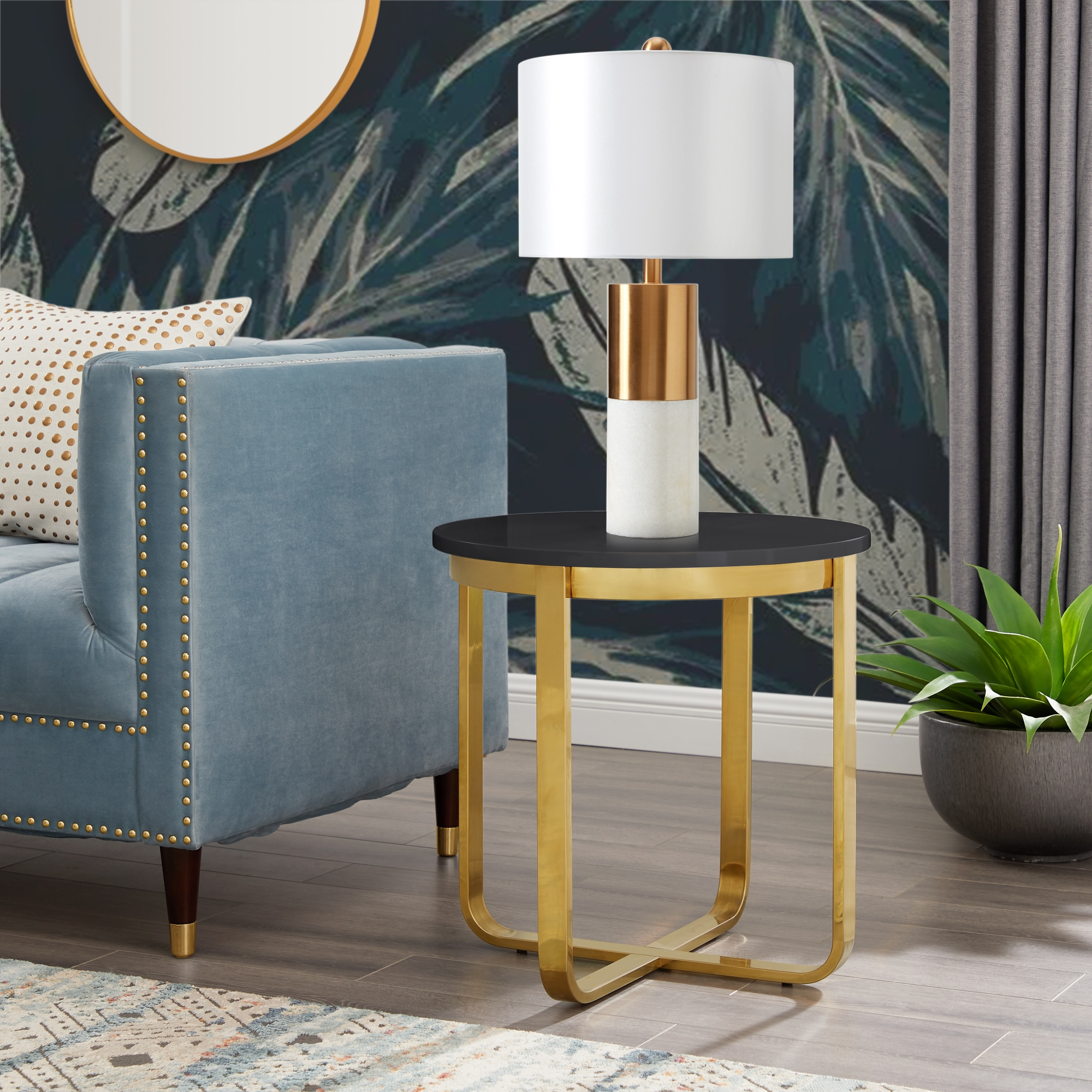 Inspired Home Black/Gold End Table High Gloss Lacquer Finish Top Polished Stainless Steel Base