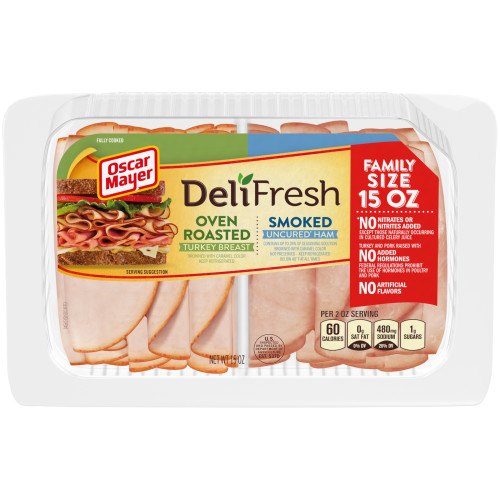 Oscar Mayer Deli Fresh Oven Roasted Turkey Breast & Smoked Ham Combo Tray, 15 oz