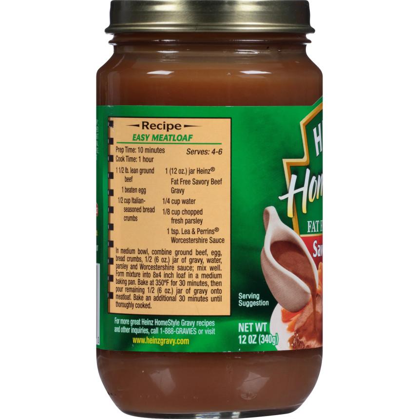 Heinz Home Style Fat Free Savory Beef Gravy 12 oz Jar
