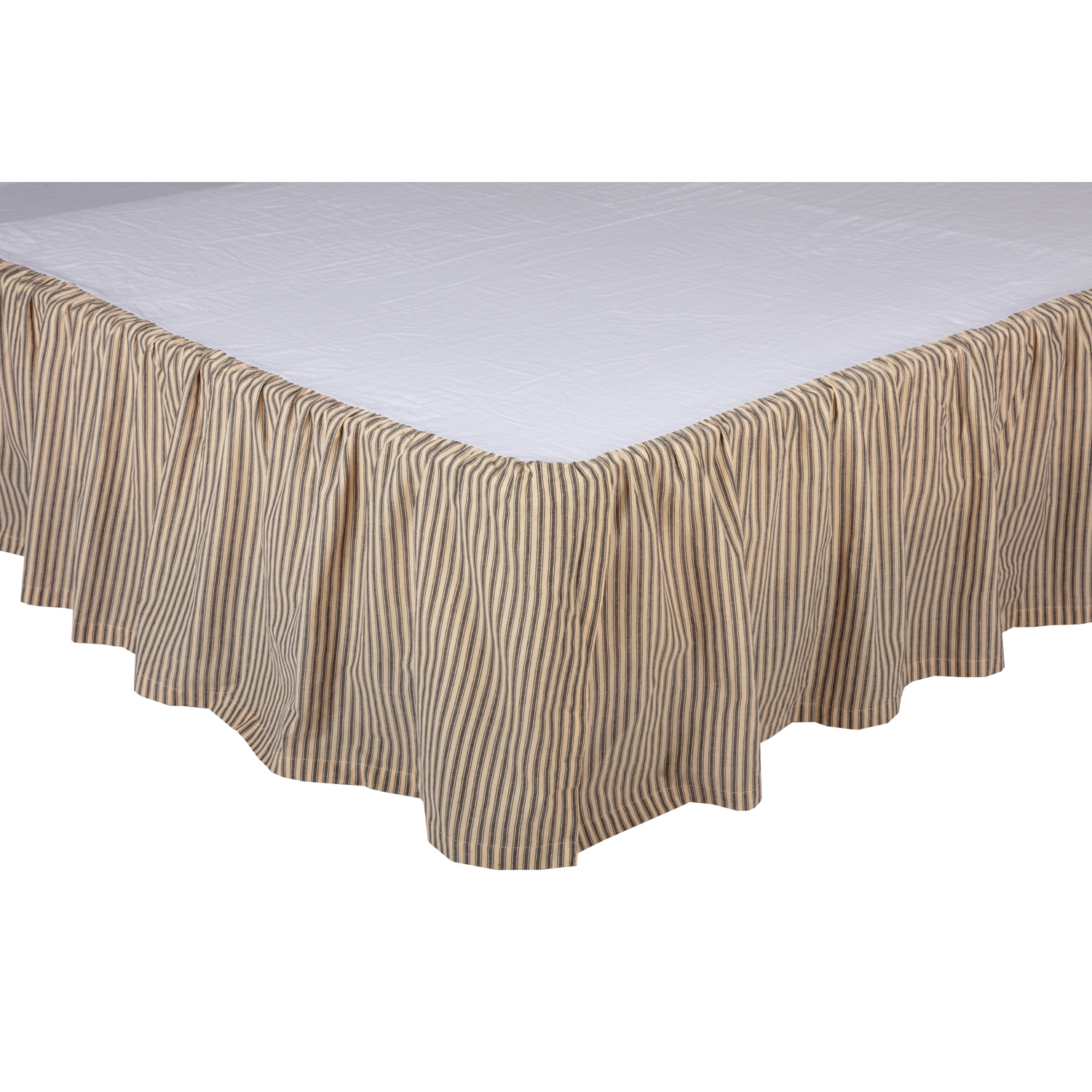 Sawyer Mill Charcoal Ticking Stripe Twin Bed Skirt 39x76x16