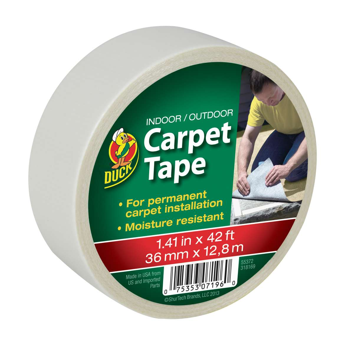 Duck® Brand Indoor/Outdoor Carpet Tape - White, 1.41 in. x 42 ft. Image
