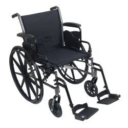 Lightweight Wheelchair, McKesson, Dual Axle Desk Length Arm Flip Back, Padded, Removable Arm Style Mag Wheel Black 18 Inch Seat Width 300 lbs. Weight Capacity, 146-K318DDA-SF - EACH