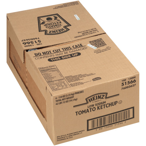 SIMPLY HEINZ Low Sodium Ketchup, 114 oz. Pouch Paks (Pack of 6)