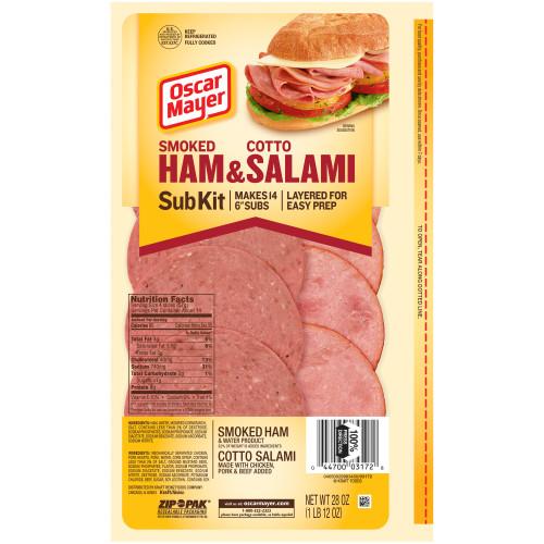 OSCAR MAYER Smoked Ham & Cotto Salami Subkit 28oz Pack