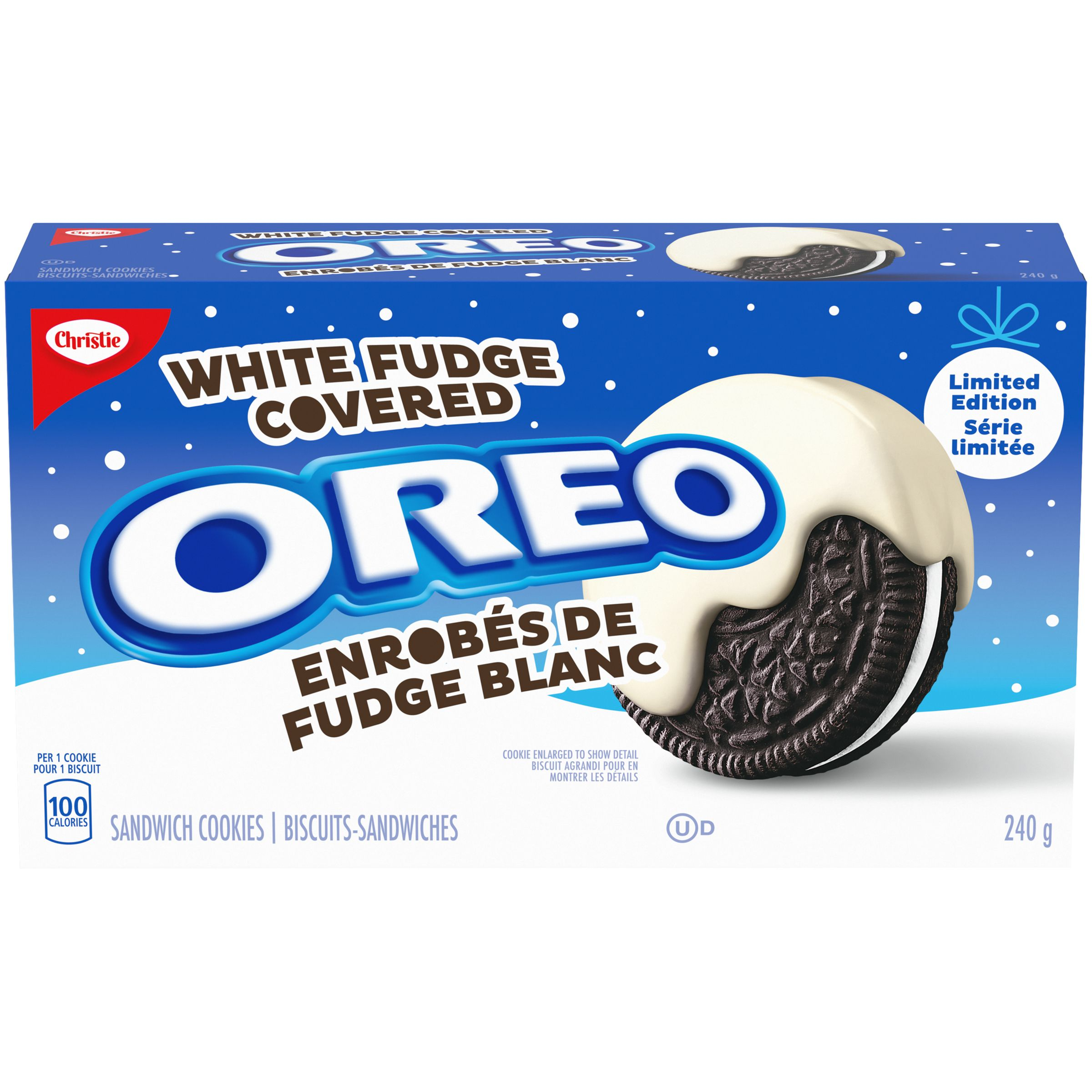Oreo White Fudge Chocolate Covered Sandwich Cookies 240 G