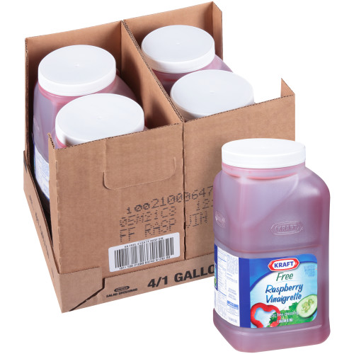 KRAFT Fat Free Raspberry Vinaigrette Salad Dressing, 1 gal. Jugs (Pack of 4)