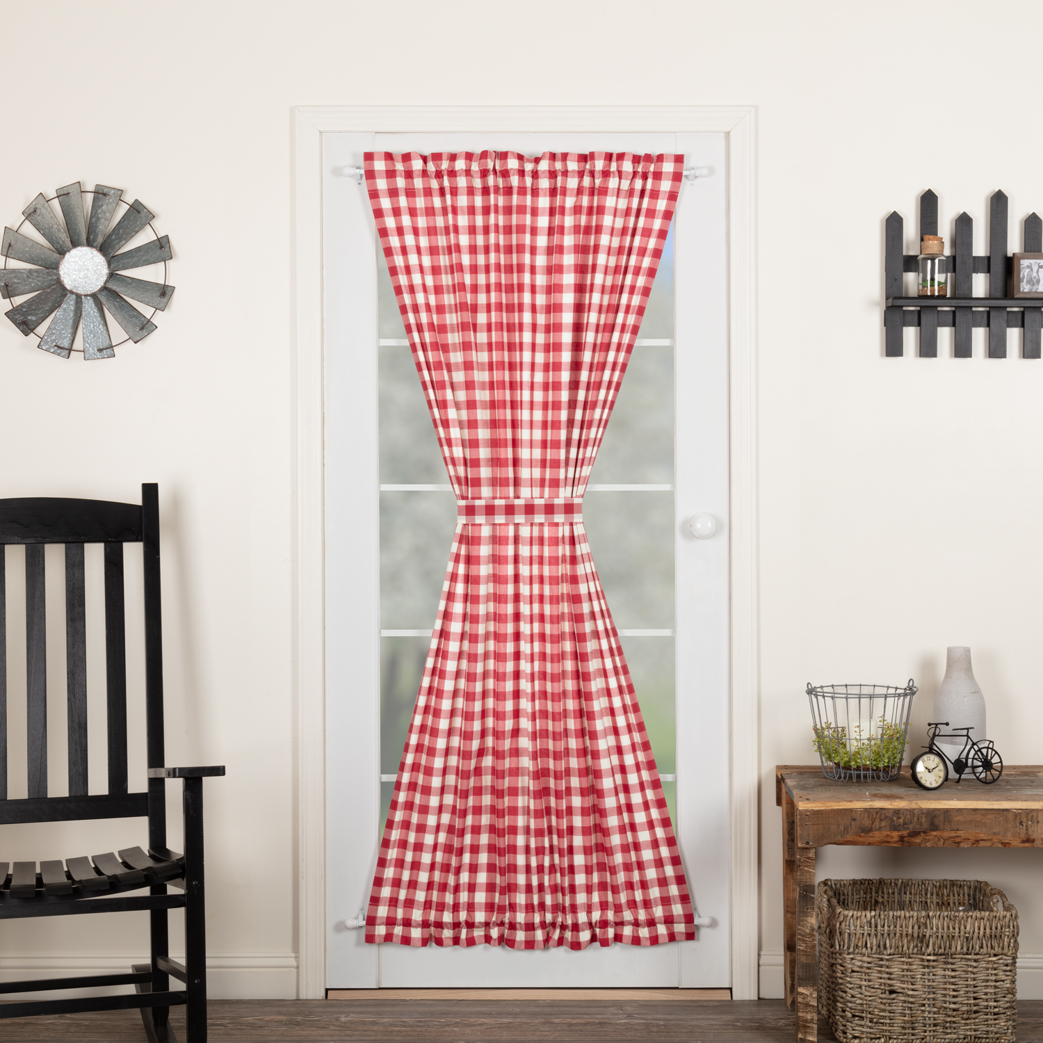 Annie Buffalo Red Check Door Panel 72x42