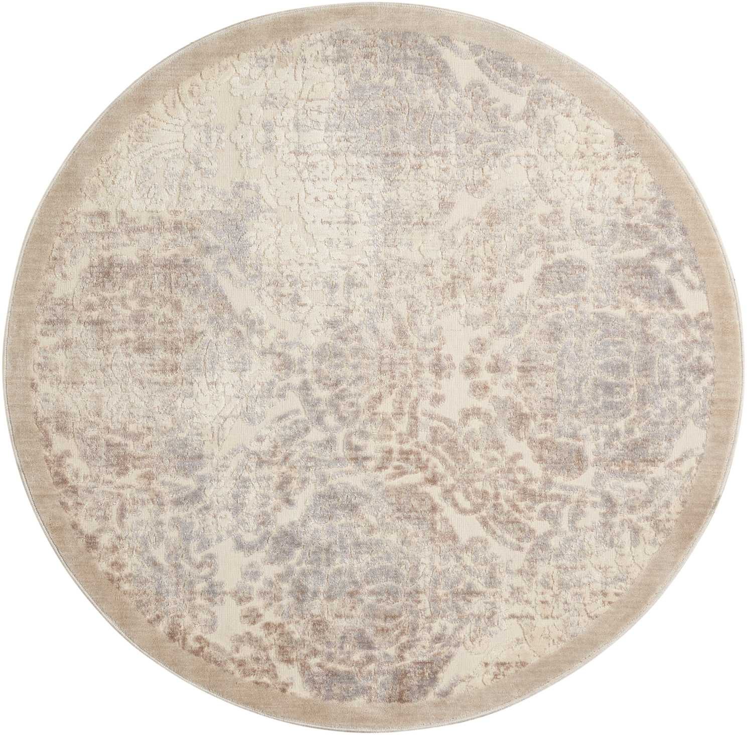 Nourison Graphic Illusions 8' Round White  Area Rug