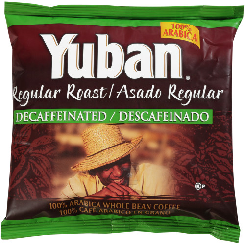 YUBAN Regular Roast Decaffeinated Whole Coffee Beans, 2 lb. Bag (Pack of 6)
