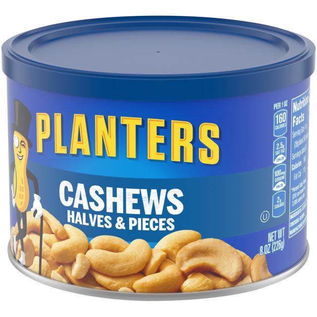 PLANTERS Halves & Pieces Cashews 8 oz Can