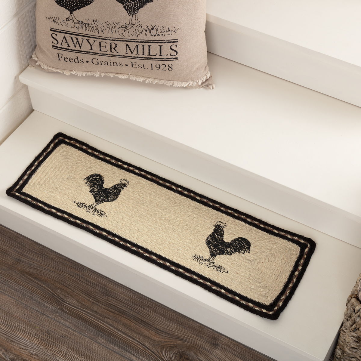 Sawyer Mill Charcoal Poultry Jute Stair Tread Rect Latex 8.5x27