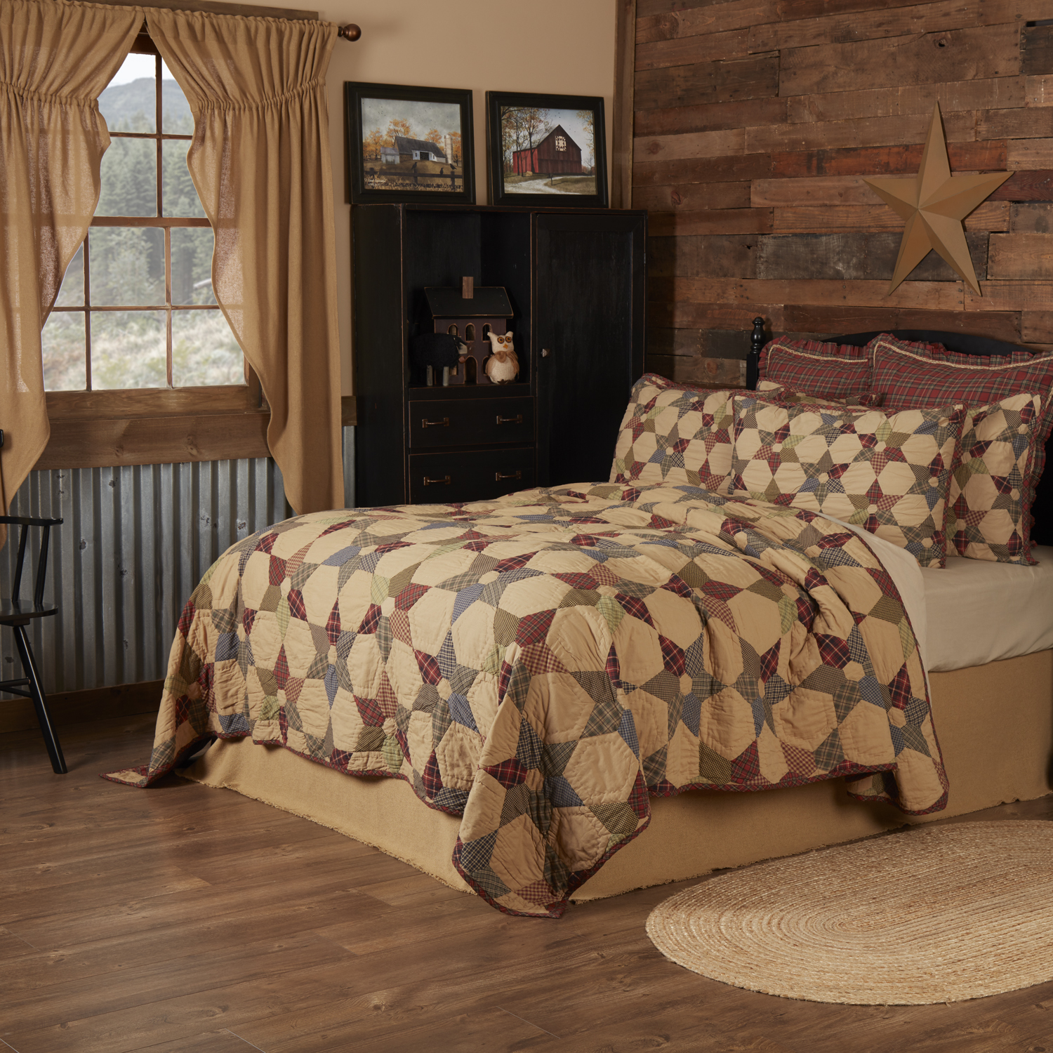 Tea Star King Quilt 110Wx97L