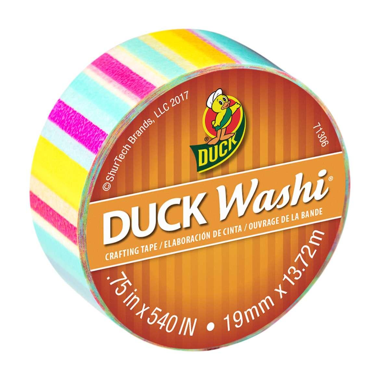 Duck Washi® Crafting Tape - Multi Stripe, 0.75 in. X 15 yd. Image