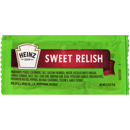 HEINZ Single Serve Sweet Relish, 0.31 oz. Packets (Pack of 500)