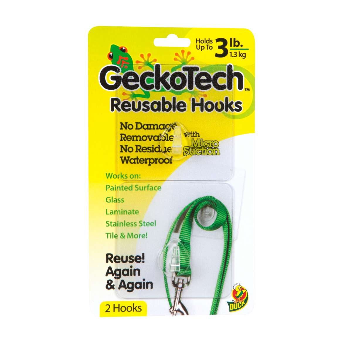 GeckoTech™ Removable Hook - Clear, 2 pk, Holds up to 3 lb. Image