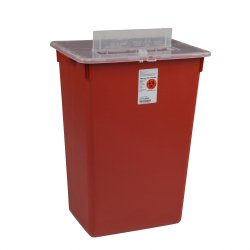 Sharps Container, Sharps-A-Gator 1-Piece 14 H X 15-1/2 W X 12 D Inch 7 Gallon Red Vertical Entry Lid, 31156550 - EACH
