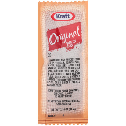KRAFT Single Serve Original BBQ Sauce, 0.44 oz. Packets (Pack of 200)