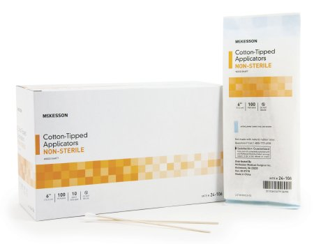 Swabstick, McKesson, Cotton Tip Wood Shaft 6 Inch NonSterile 100 per Pack, 24-106 - Pack of 100