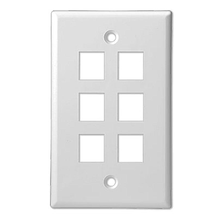 6Port White Keystone Wall Plate Wave Electronics