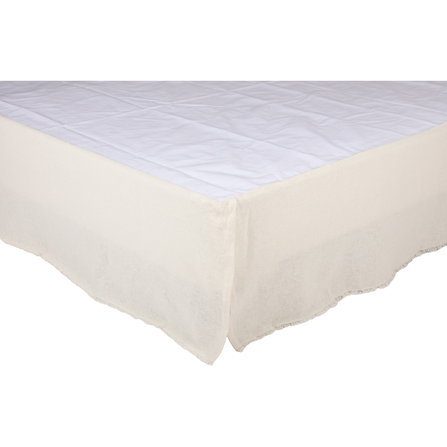 Burlap Antique White Fringed Twin Bed Skirt 39x76x16