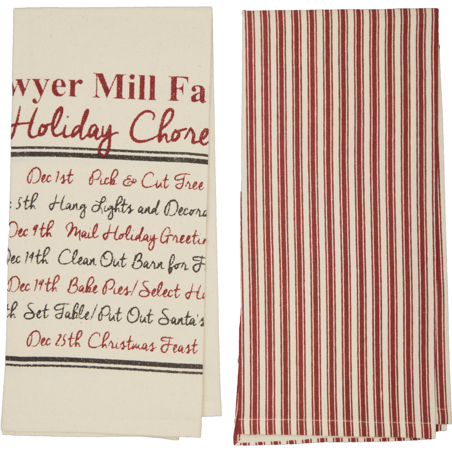 Sawyer Mill Holiday Chores Unbleached Natural Muslin Tea Towel Set of 2 19x28