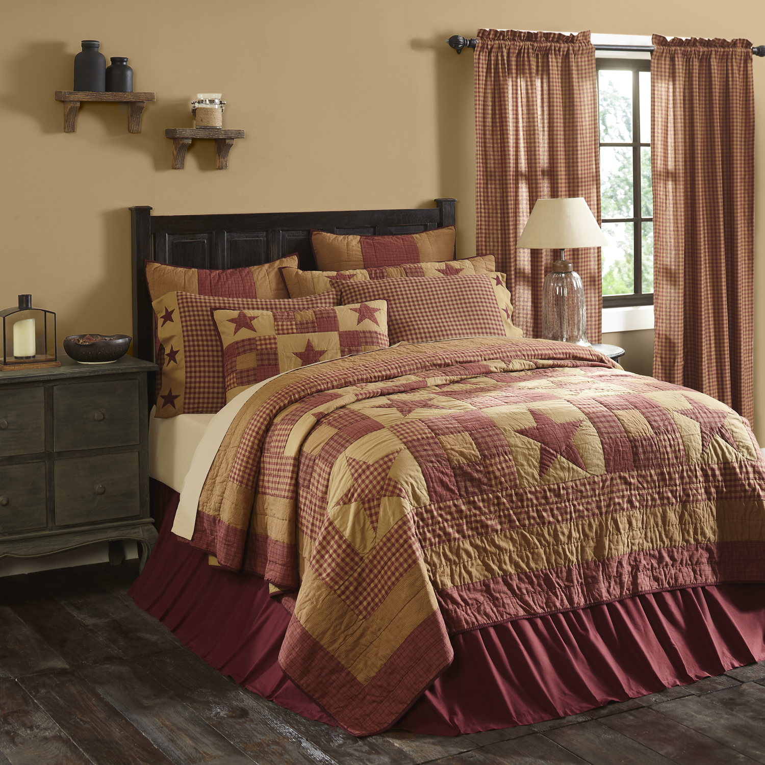 Ninepatch Star California King Quilt 130Wx115L