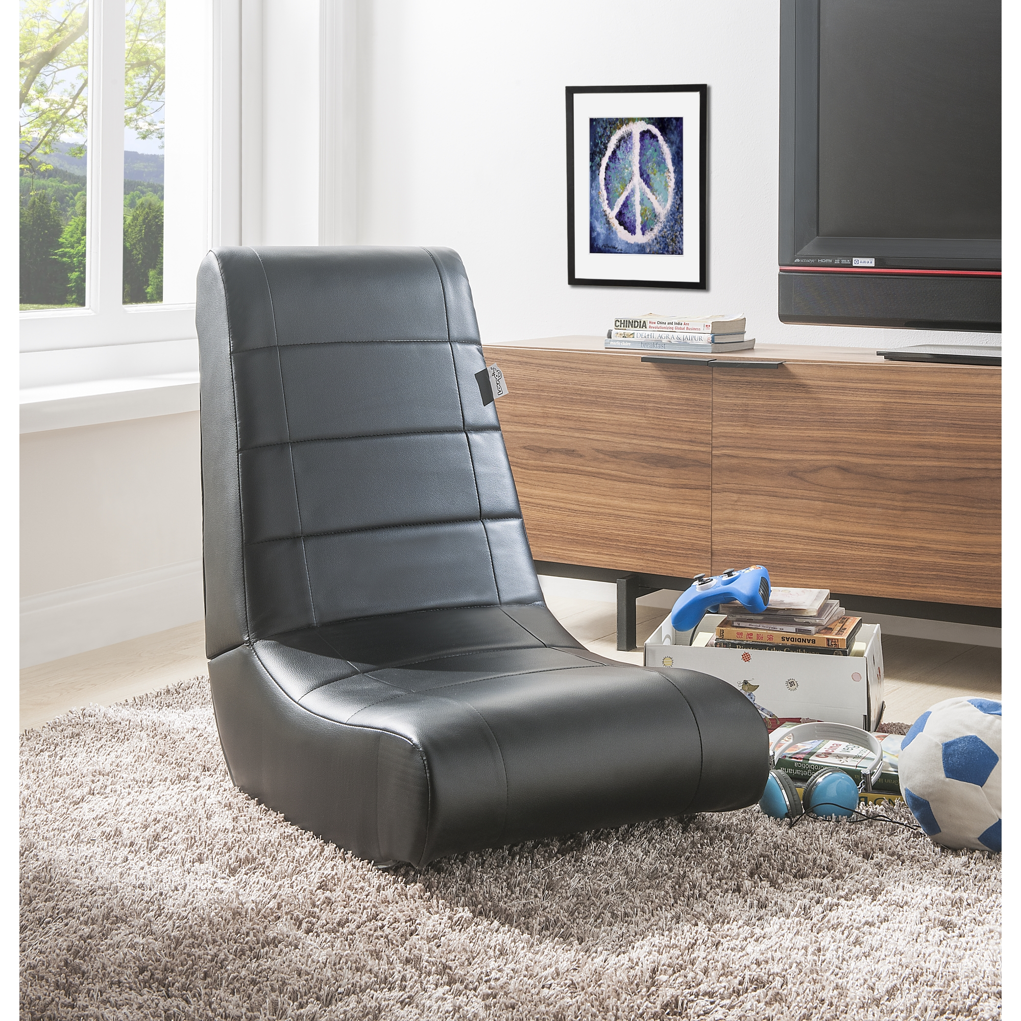 Loungie Black PU/Black PU PU Leather Chair For Kids, Teens, Adults, Boys Or Girls
