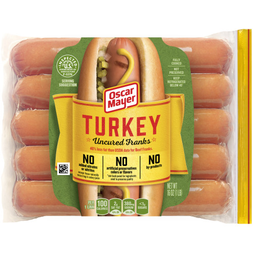 Oscar Mayer Turkey Uncured Franks Pack, 10 count