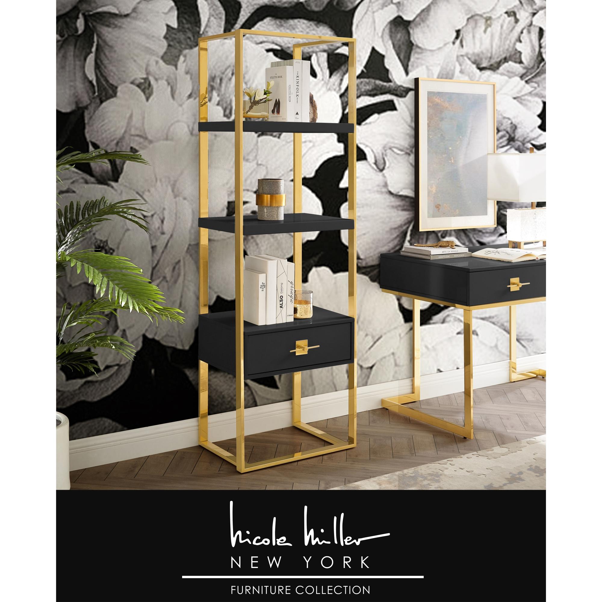 Nicole Miller Black/Gold Bookshelf 1 Drawer 3 Shelves Hight Gloss Lacquer Finish