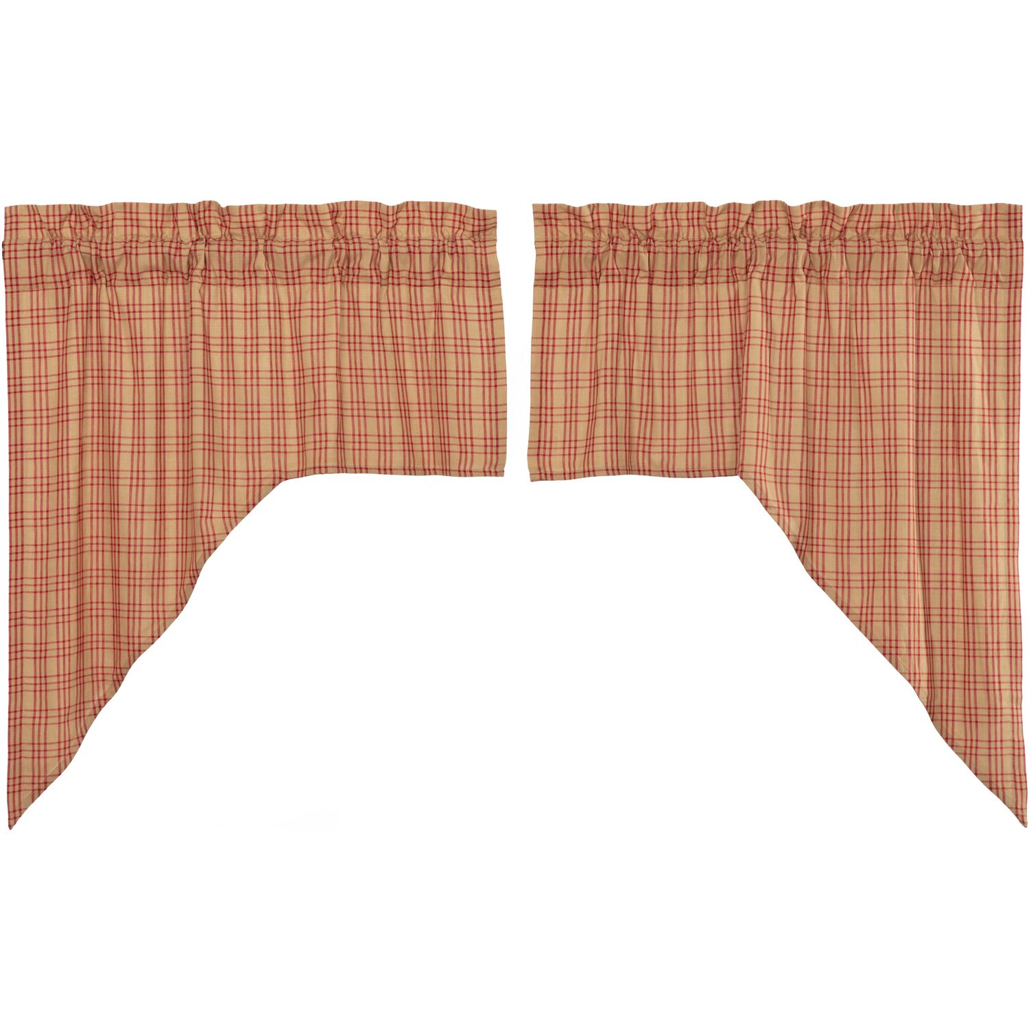 Sawyer Mill Red Plaid Swag Set of 2 36x36x16