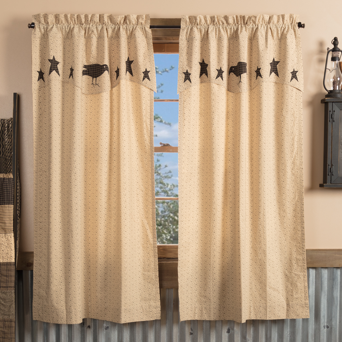 Kettle Grove Short Panel with Attached Applique Crow and Star Valance Set of 2 63x36
