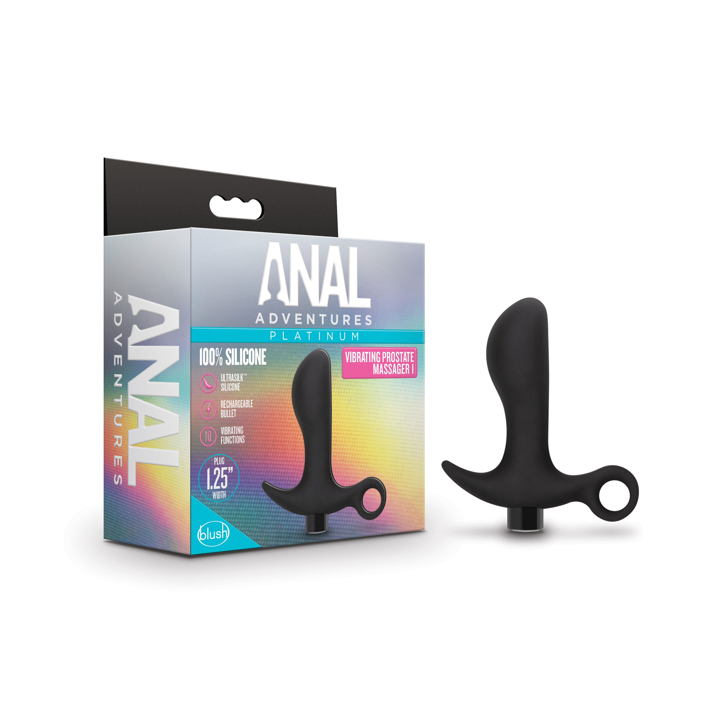 Anal Adventures - Platinum - Silicone Vibrating Prostate Massager 01 - Black