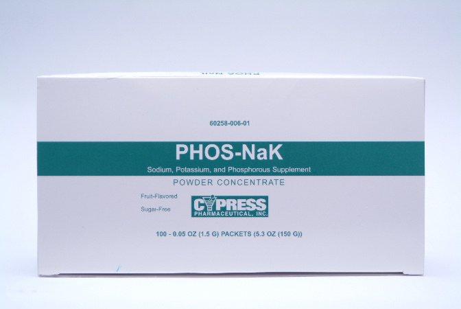 Phos-NaK Dietary Supplement Sodium / Potassium / Phosphorus 160 mg - 280 mg - 250 mg Strength Oral Powder 100 per Pack Assorted Fruit Flavors, 60258000601 - Pack of 100