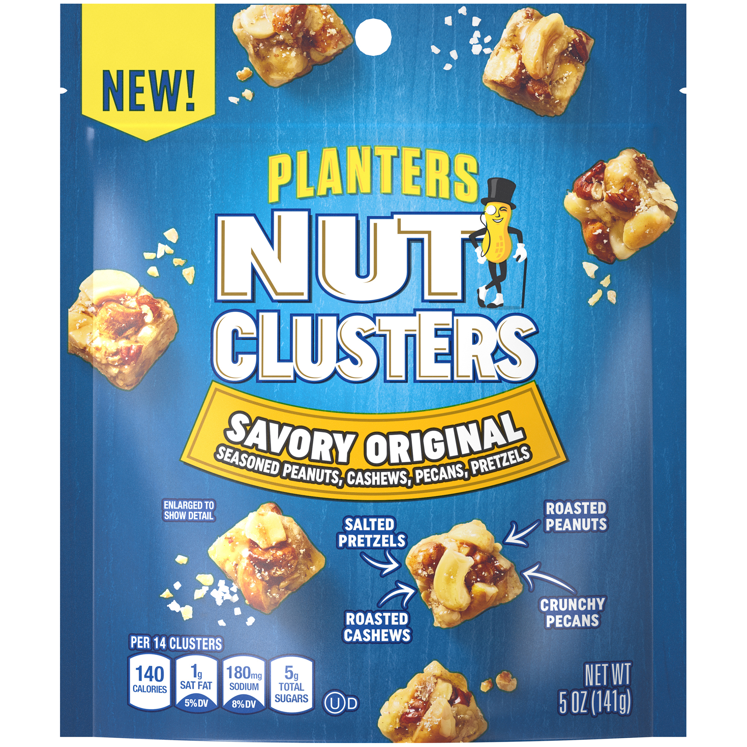 Planters Original Salted Nut Clusters with Cashews Peanuts Pecans & Salted Pretzels, 5 oz Bag image