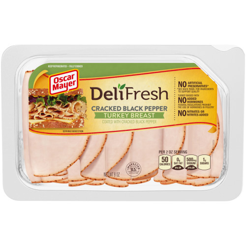 Oscar Mayer Deli Fresh Cracked Black Pepper Turkey Breast Tray, 8 oz