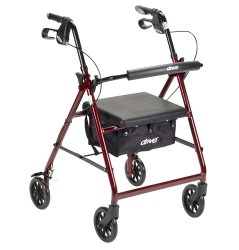 4 Wheel Rollator, McKesson, 32 to 37 Inch Red Folding Aluminum Frame 32 to 37 Inch, 146-R726RD - EACH