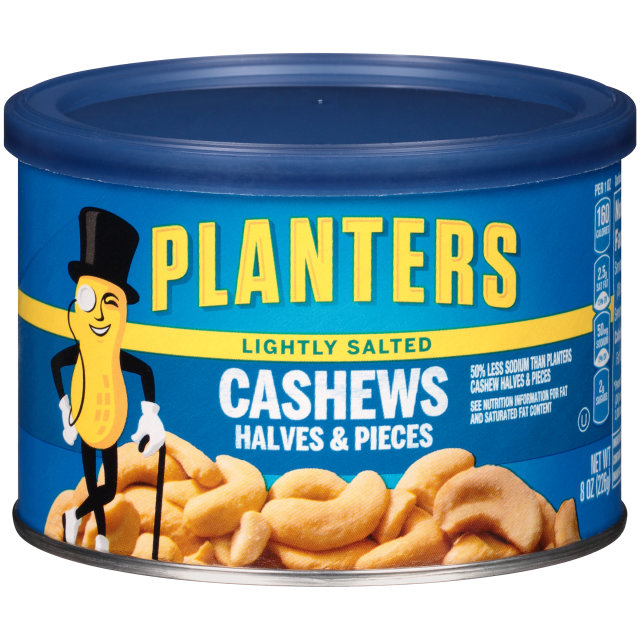 PLANTERS Lightly Salted Halves & Pieces Cashews  8 oz Can
