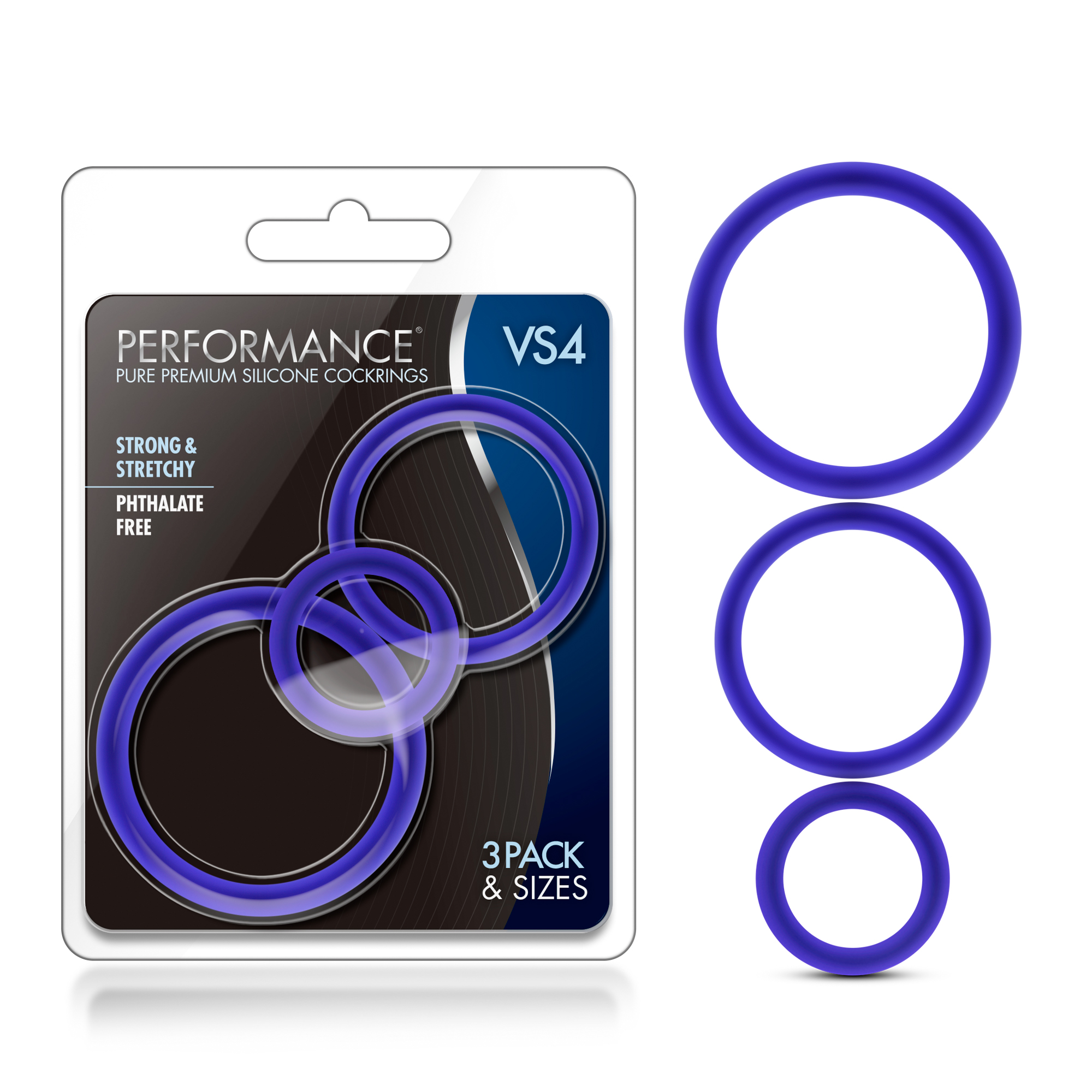 Performance - VS4 Pure Premium Silicone Cock Ring Set - Indigo