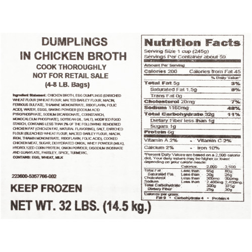 QUALITY CHEF Dumplings & Chicken Broth, 8 lb. Frozen Bag (Pack of 4)