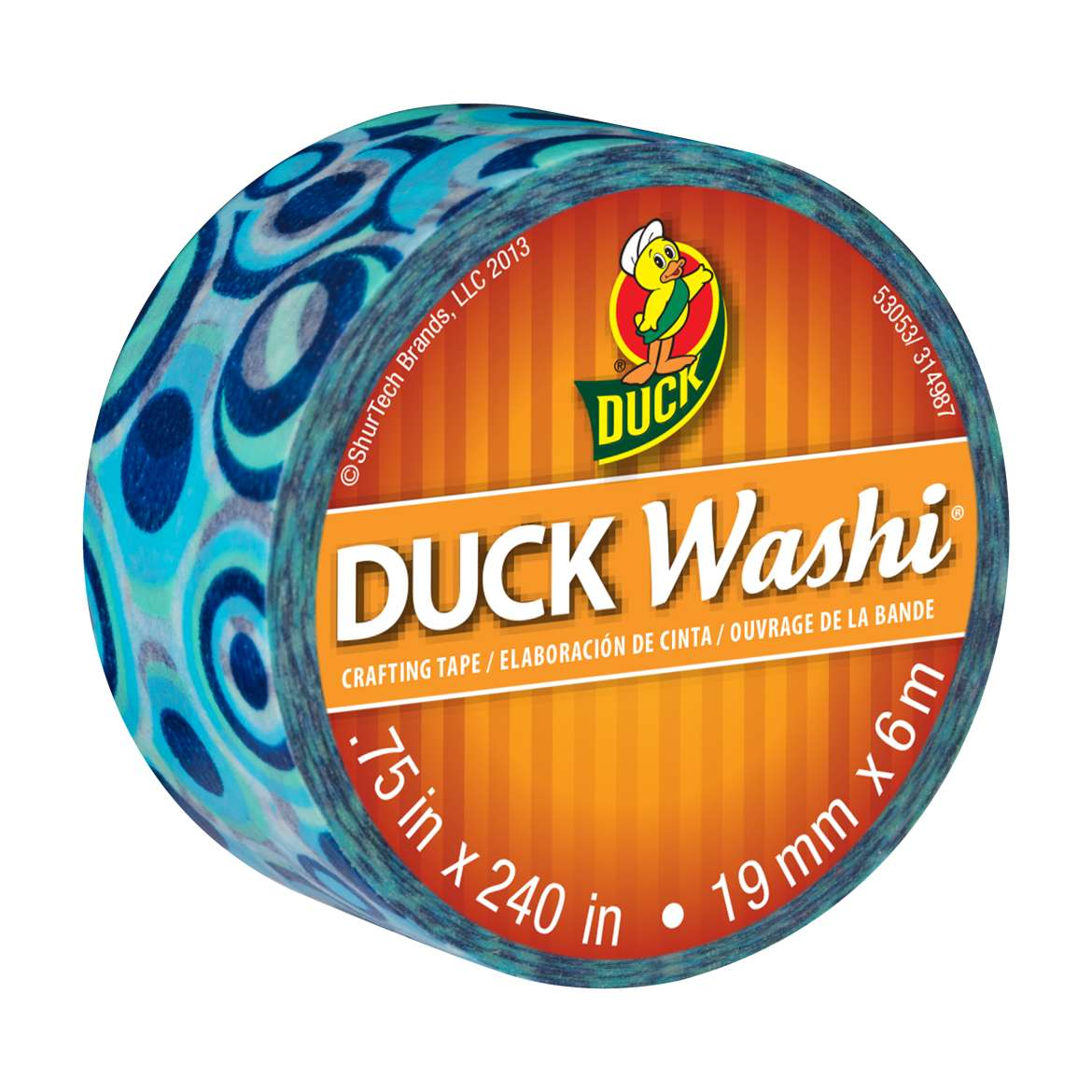 Duck Washi® Crafting Tape - Blue Mod, .75 in. x 240 in. Image