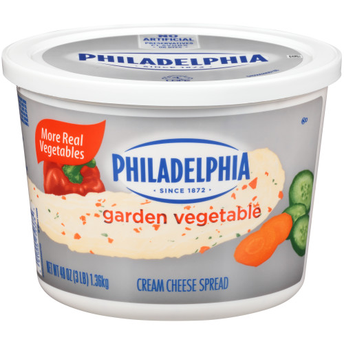 PHILADELPHIA Garden Vegetable Cream Cheese Spread, 48 oz. Tub (Pack of 6)