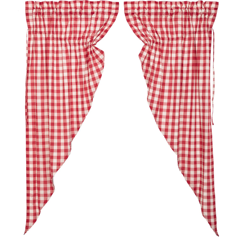 Annie Buffalo Red Check Prairie Short Panel Set of 2 63x36x18
