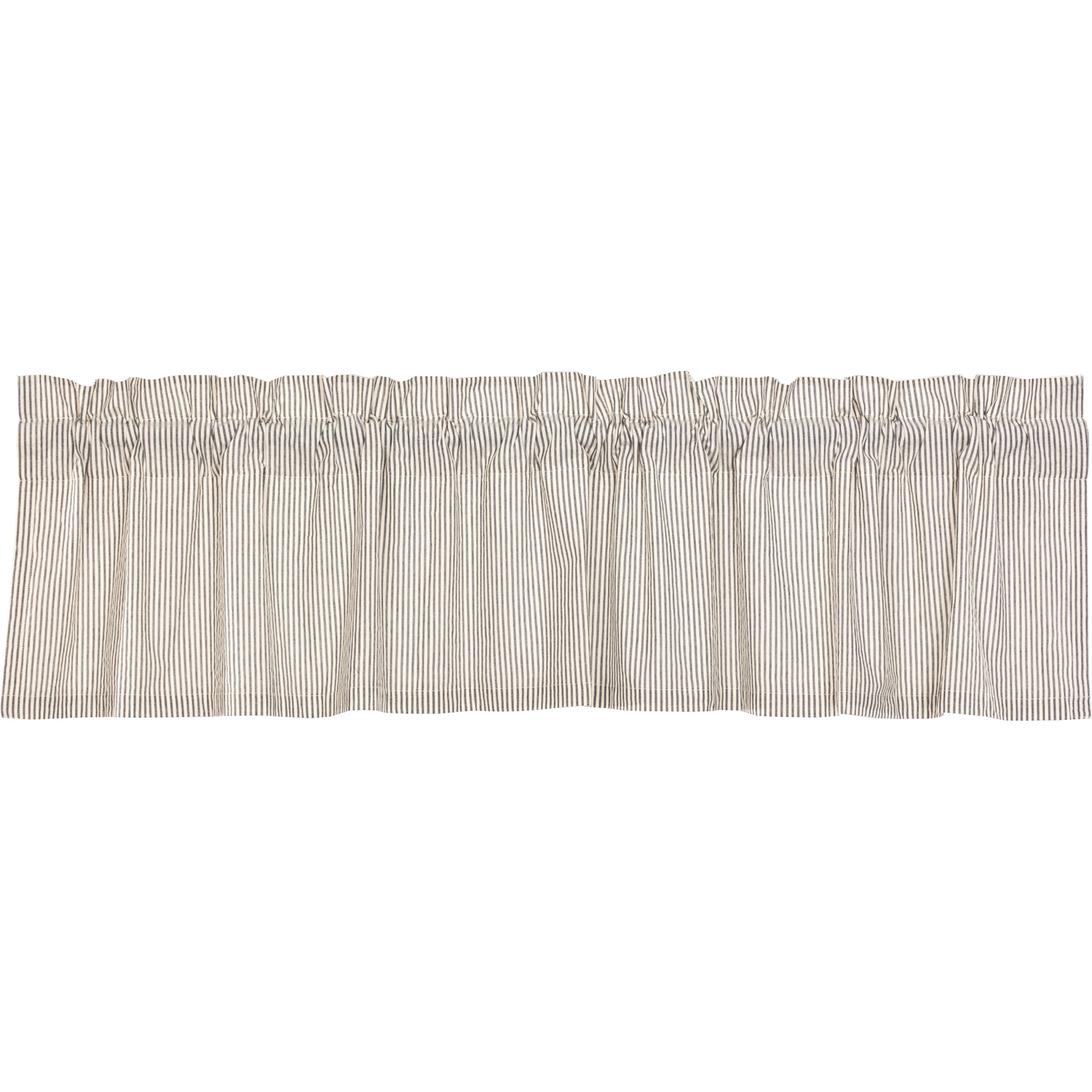 Hatteras Seersucker Blue Ticking Stripe Valance 16x72