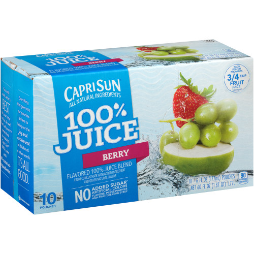 CAPRI SUN 100% Juice Berry Pouch, 6 oz. Pouches (Pack of 40)