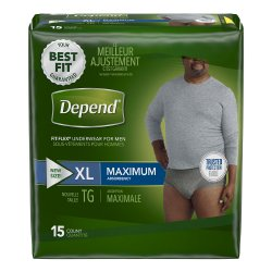 Depend FIT-FLEX Adult Underwear Pull On X-Large Disposable Heavy Absorbency, 47930 - Pack of 15
